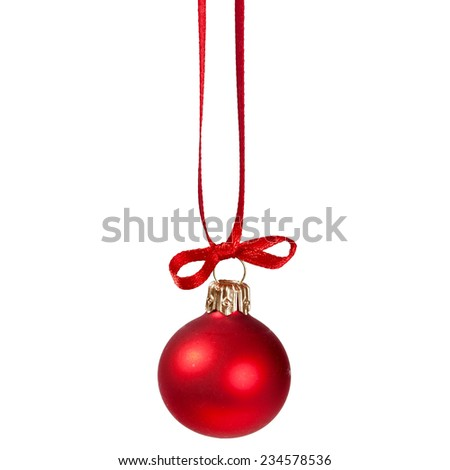 One Christmas red ball isolate on white background - stock photo