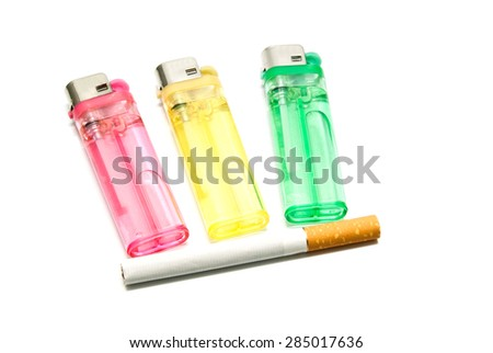 one cigarette and three lighters on white - stock photo