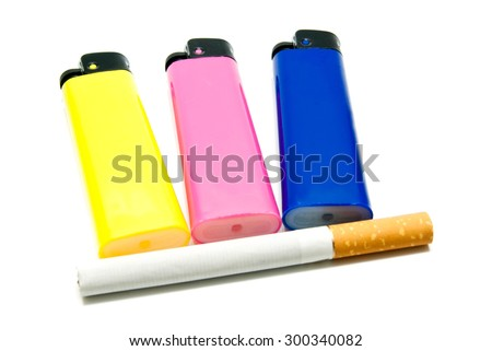 one cigarette and three lighters on white closeup - stock photo