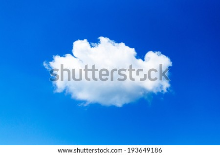 One clouds , Lonely cloud , cloud alone , One clouds and blue sky - stock photo