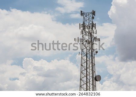 One communication tower with microwave antennae