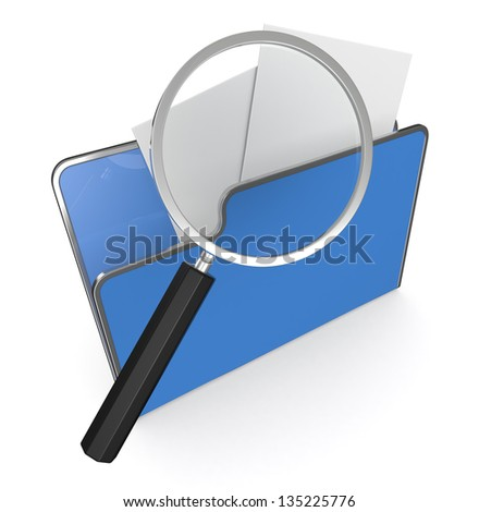 one computer folder with a magnifying glass (3d render) - stock photo
