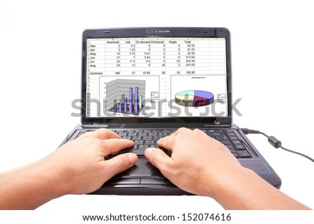 one computer notebook with income table and chart - stock photo