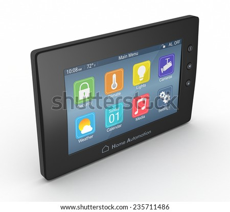 one control panel for home automation system (3d render) - stock photo