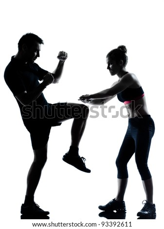 one couple man woman exercising workout aerobic fitness posture full length silouhette on studio isolated on white background - stock photo