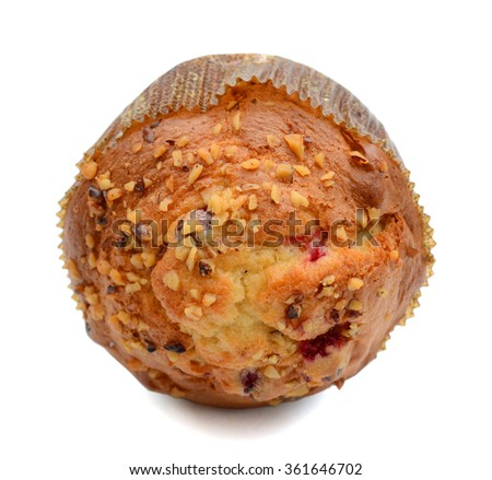 one cranberry nut muffin on white background - stock photo