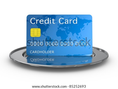 one credit card on a silver plate (3d render)