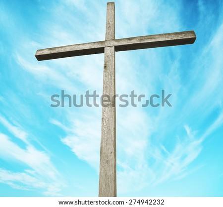 One cross on sky background  - stock photo