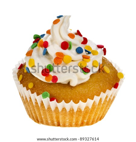 one cupcake with colorful  sprinkles close up isolated on white  background - stock photo