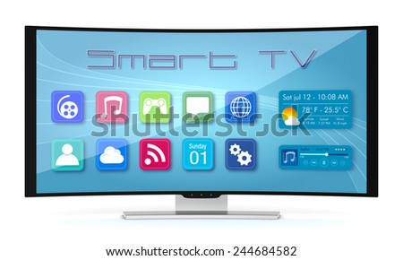 one curved smart tv, with apps screen (3d render) - stock photo