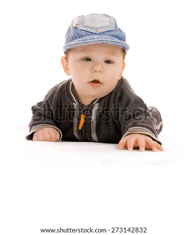 One cute little newborn baby on a white background - stock photo