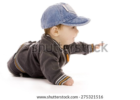 One cute little newborn baby on a white background