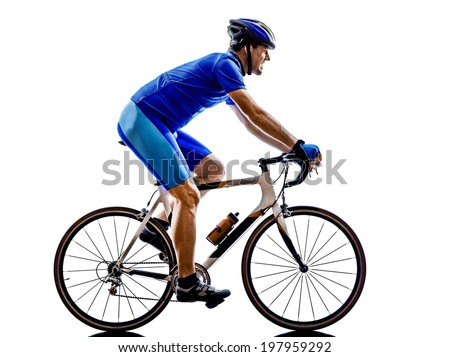 one cyclist road bicycle in silhouette on white background - stock photo