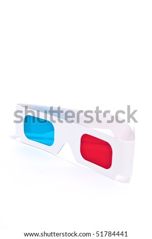 One 3D glasses. side view on white background - stock photo