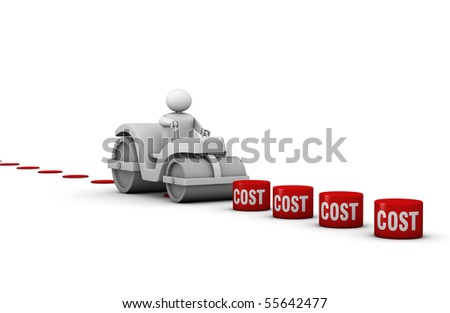 One 3d man with a steamroller crushing costs - stock photo