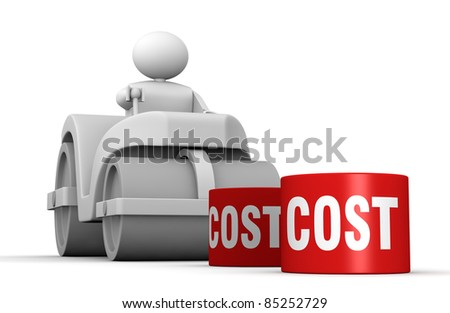 One 3d man with a steamroller crushing costs (3d render) - stock photo