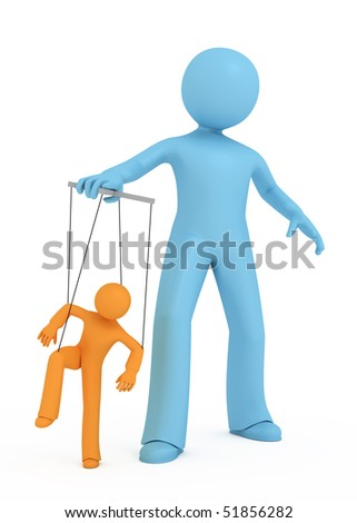 One 3d person manipulates another 3d person. - stock photo