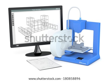 one 3d printer with a sketch document and a computer monitor with a cam software (3d render) - stock photo