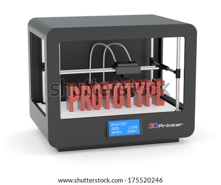 one 3d printer with the text: prototype (render) - stock photo
