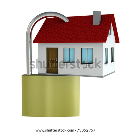 One 3d render of a house with a padlock