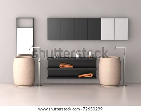 one 3d render of a modern bath - stock photo