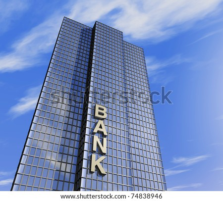 one 3d render of a skyscraper, headquarter of a bank - stock photo