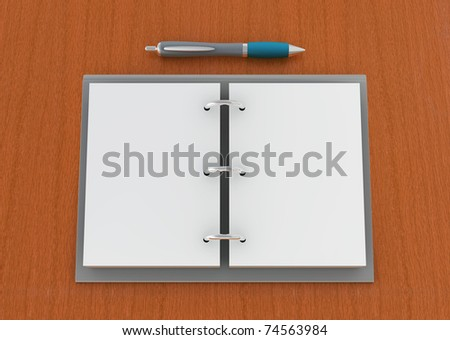 one 3d render of an agenda with pen on a wooden plane - stock photo