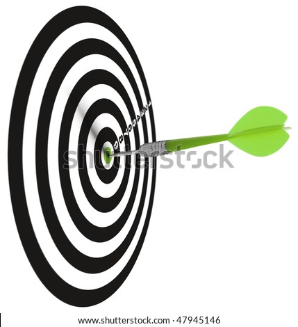 one dar hit it's target on a white background, concept for success