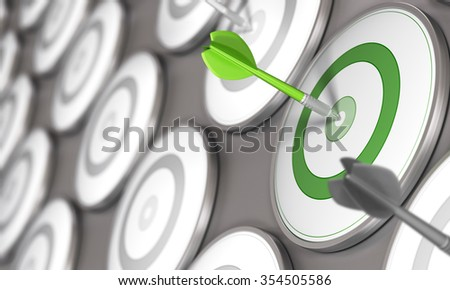 One dart hits the center of a green target with many grey targets around it. Concept image for illustration of business competitiveness.