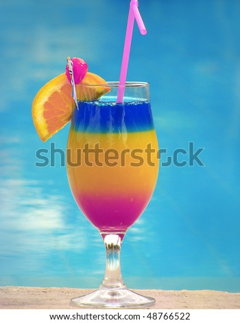 one decorated coctail beautiful full color - stock photo