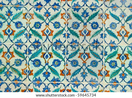One design of the many topkapi palace tiles - stock photo