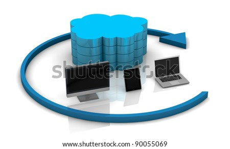 one desktop computer, tablet pc and notebook connected with a remote storage, concept of cloud computing (3d render) - stock photo