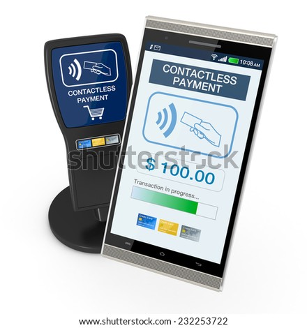 one device for contactless payments with a smartphone (3d render) - stock photo