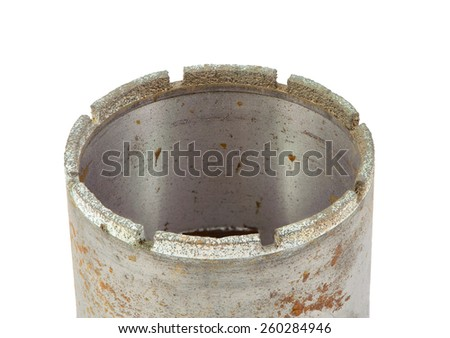 ONE DIAMOND DRILLING CROWN ISOLATED on white background - stock photo