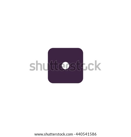 One dices - side with 1. Simple blue icon on white background - stock photo