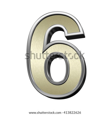 One digit from brushed gold with shiny silver frame alphabet set, isolated on white. 3D illustration. - stock photo