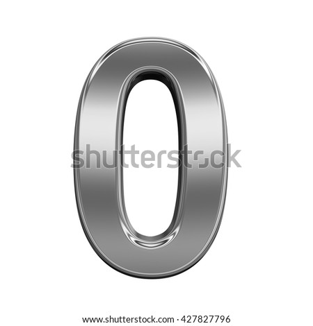 One digit from titanium alphabet set, isolated on white. 3D illustration.