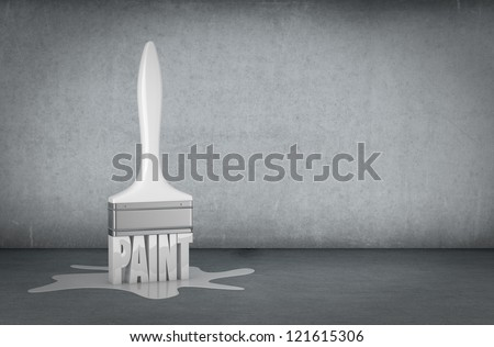 one dirty room with a white paintbrush and a stain (3d render) - stock photo