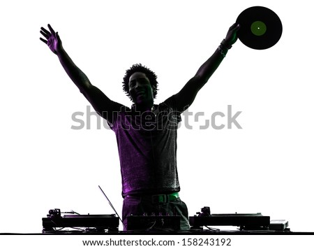 one disc jockey man happy joy arms raised in silhouette  on white background - stock photo