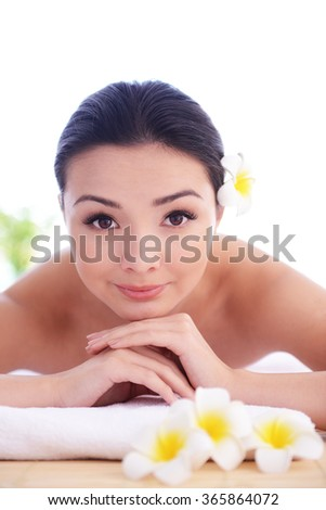 One do relaxing massage to pretty woman, close up - stock photo