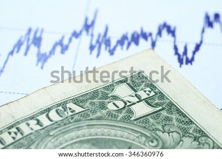 One dolar note on a graph  - stock photo