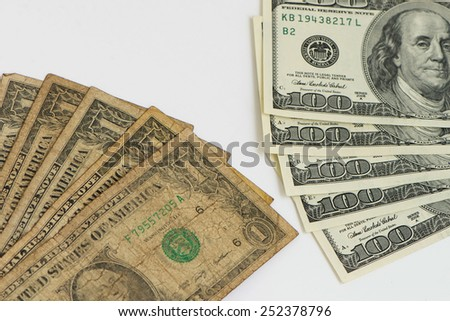 One Dollar and One Hundred Dollars - stock photo