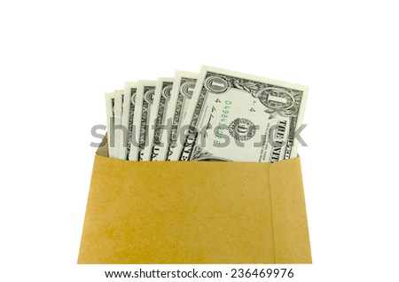 One dollar banknote colored leaves in brown envelope. - stock photo