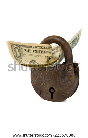 One dollar banknotes and rusty padlock over white - stock photo