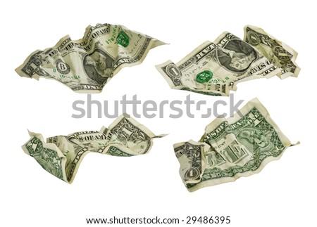 one dollar banknotes far between - stock photo