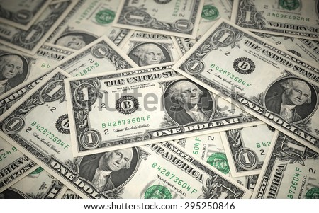 One dollar banknotes stacks (depth of field) - stock photo