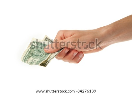 one dollar bill in a hand of young man