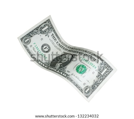 One dollar bill isolated falling on white background.