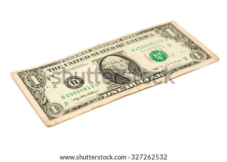 One dollar bill isolated on a white background