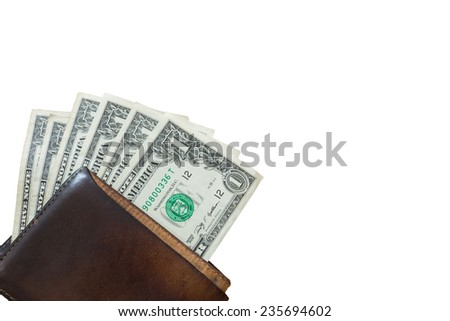 one dollar bill wallet, isolated on white background - stock photo